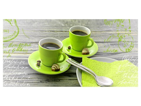 koffiekopjes met letters horizontaal groen