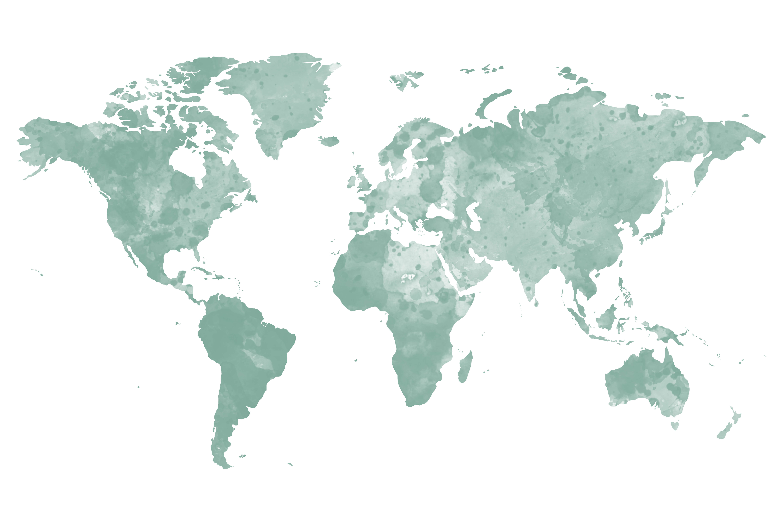 beprikbare wereldkaart waterverf groen