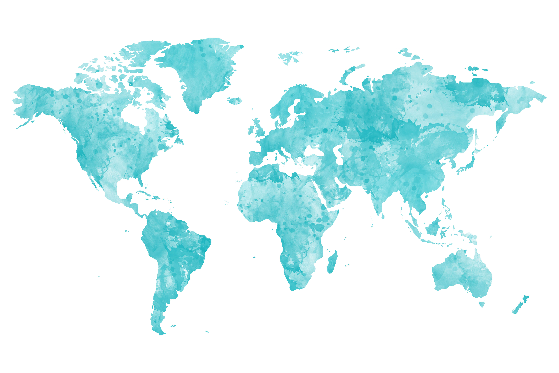 beprikbare wereldkaart waterverf blauw