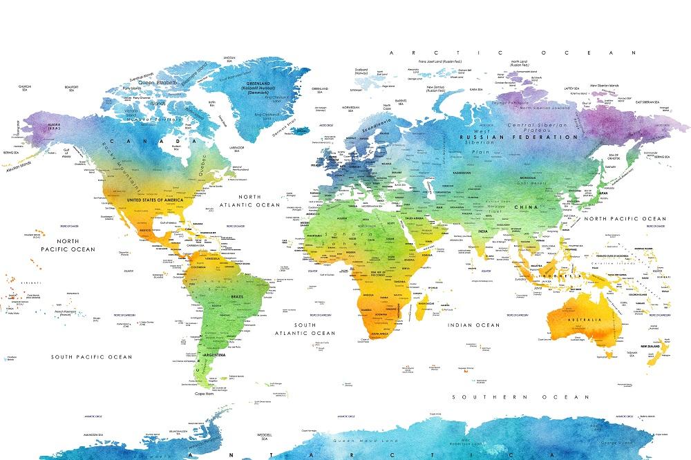 Wereldkaart in kleur zonder grenzen