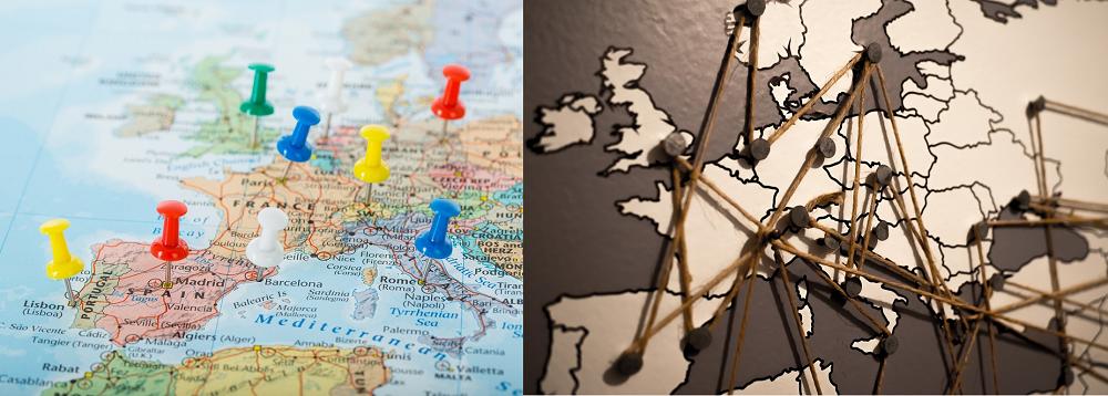 wereldkaart met pins en draden