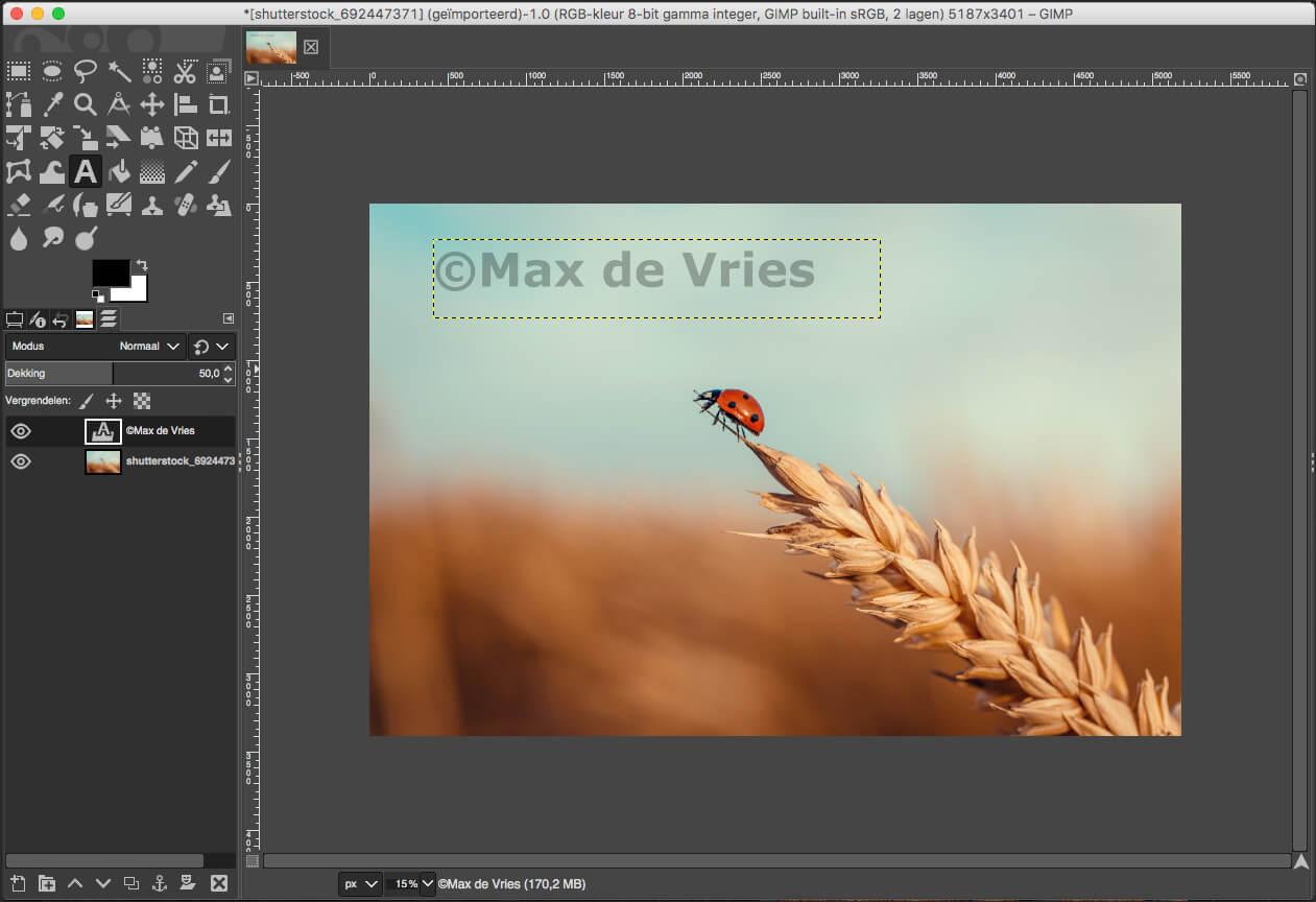 Watermerk in foto zetten met GIMP tekst