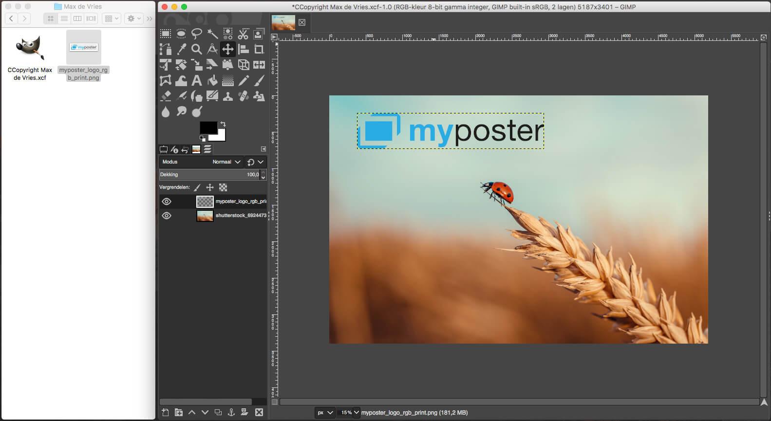 Watermerk in foto zetten met GIMP logo