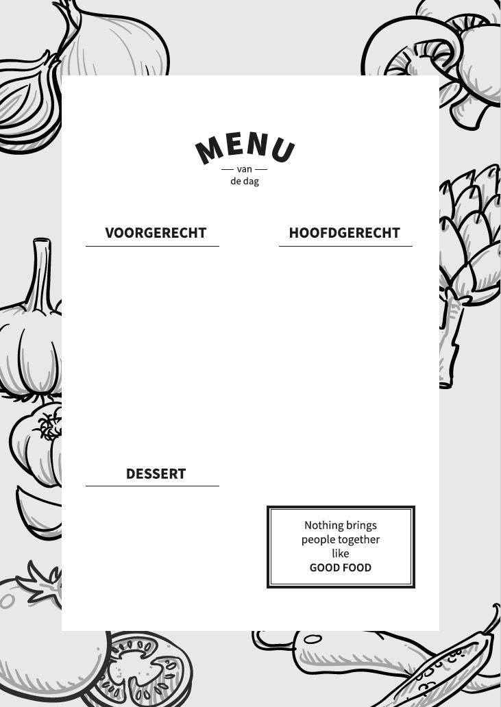 Gratis menukaart download verticaal staand zwart wit
