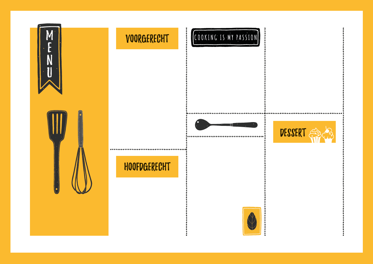 Gratis menukaart download liggend horizontaal geel