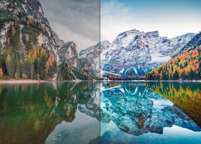 online foto bewerken voor en na water
