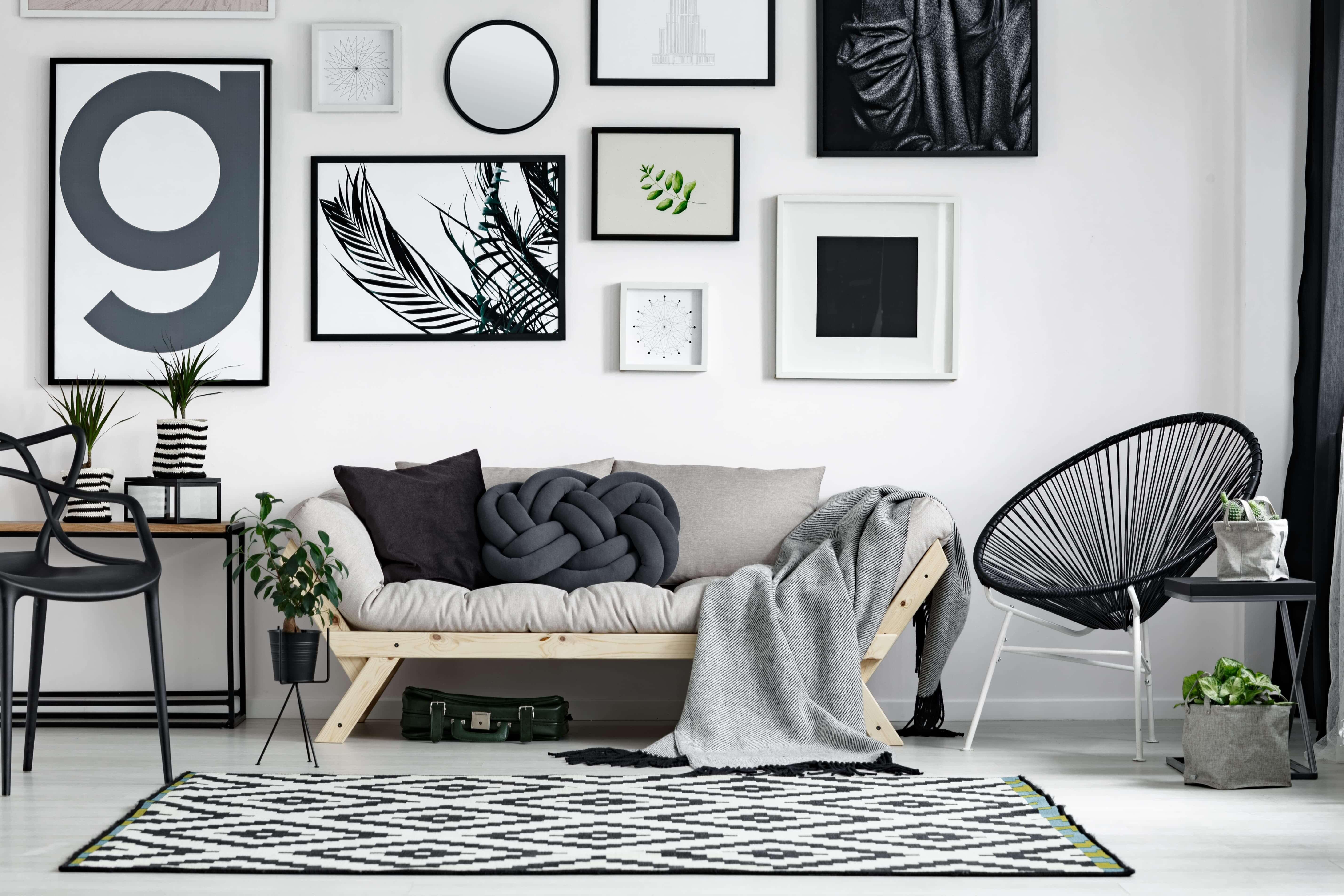 scandinavisch interieur zwart wit